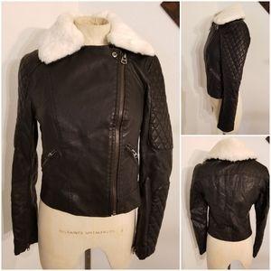 Topshop Faux Leather Moto Jacket 4 Black Faux Fur